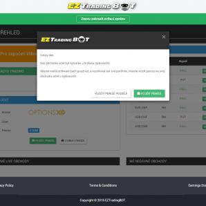 EZtradingBOT - úvodní obrazovka platformy