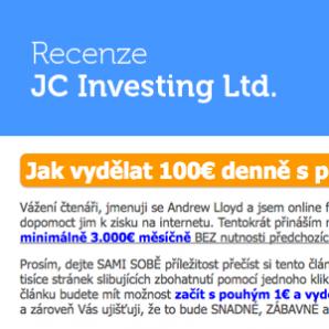 Podvod: Andrew Lloyd a JC Investing Ltd. – recenze, zkušenosti