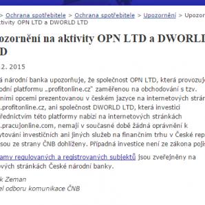 ProfitOnline je podvod - varování vydala i ČNB