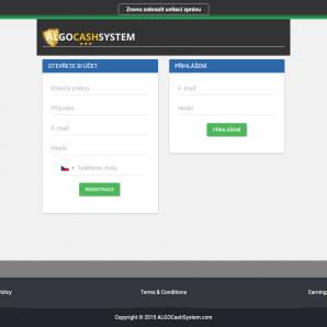 Recenze AlgoCashSystem - vstupní stránka