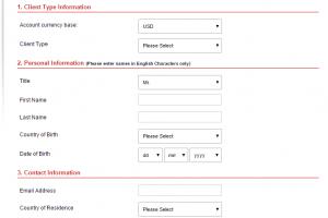 Registrační formulář HotForex