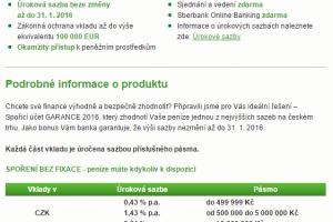 Sberbank - spořící účet Garance 2016 - podmínky