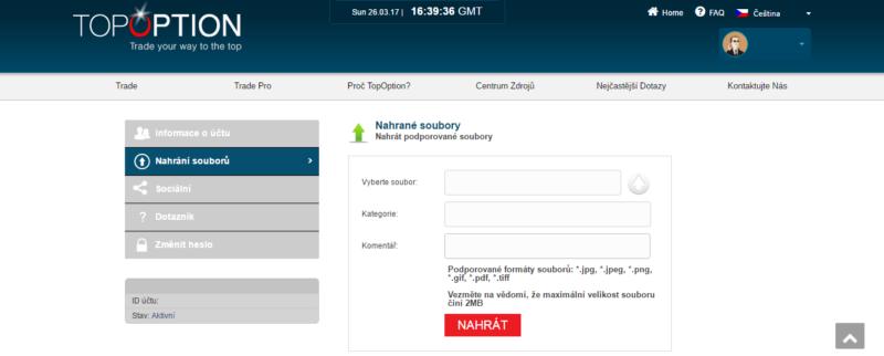 Nafocené soubory pro ověření totožnosti se nahrávají přímo z účtu