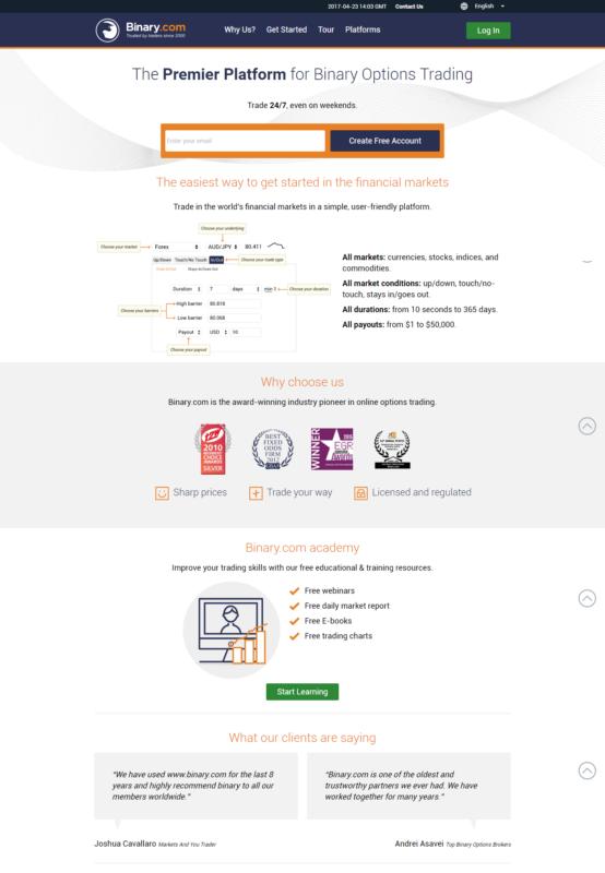 Homepage webu brokerské společnosti