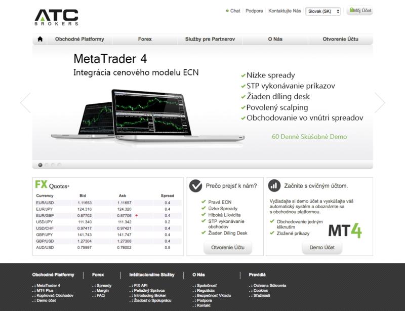 Homepage webu brokera ATC Brokers