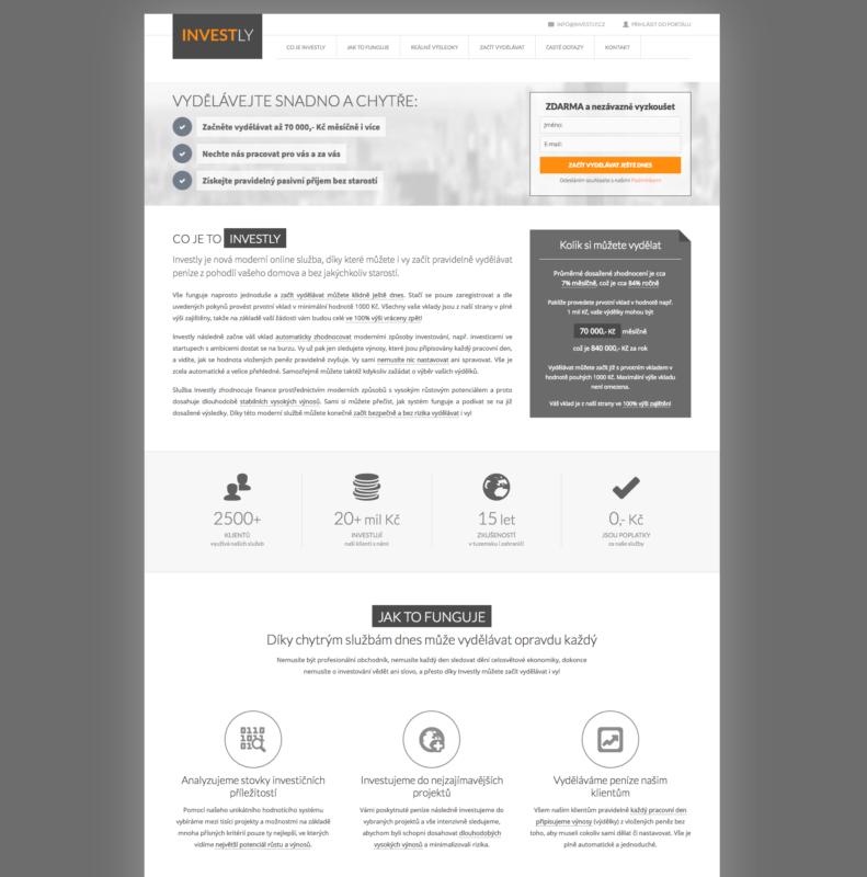 Recenze, zkušenosti s Investly - webová stránka projektu
