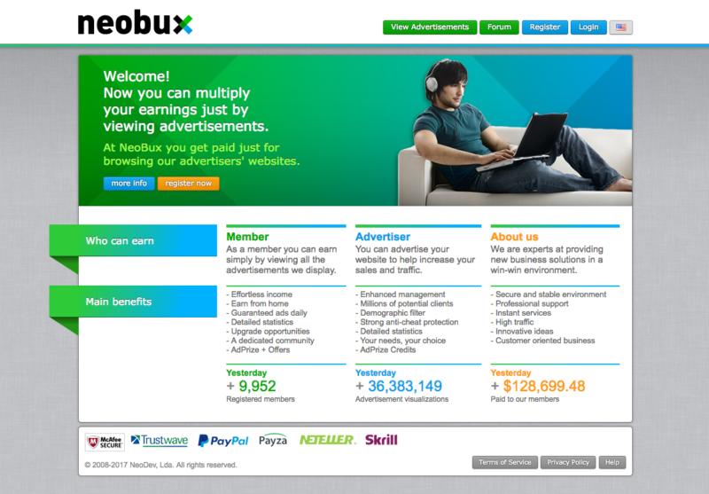 Výdělek peněz prostřednictvím Neobux
