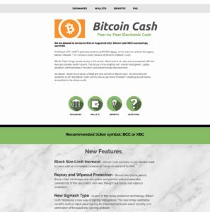 Internetové stránky měny BitcoinCash