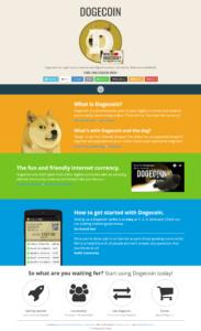 Webová stránka digitální měny Dogecoin