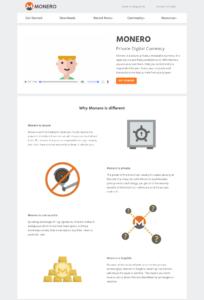Webové stránky digitální měny Monero
