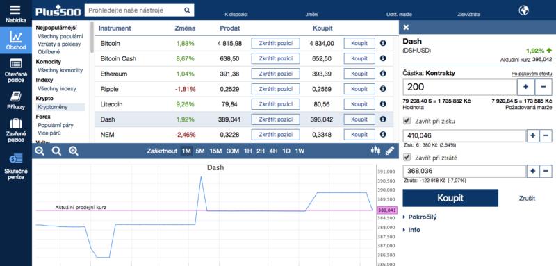 Jak koupit Dash – obchodování u online brokera Plus500