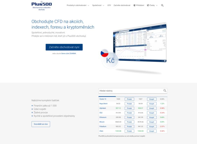 Webové stránky brokerské společnosti