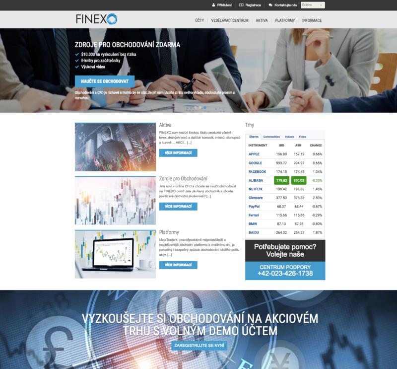 Oficiální web brokera Finexo.com