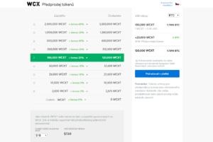 Předprodej tokenů WCXT