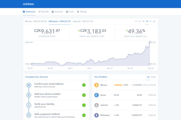 Směnárna kryptoměn Coinbase podporuje BTC, LTC a ETH
