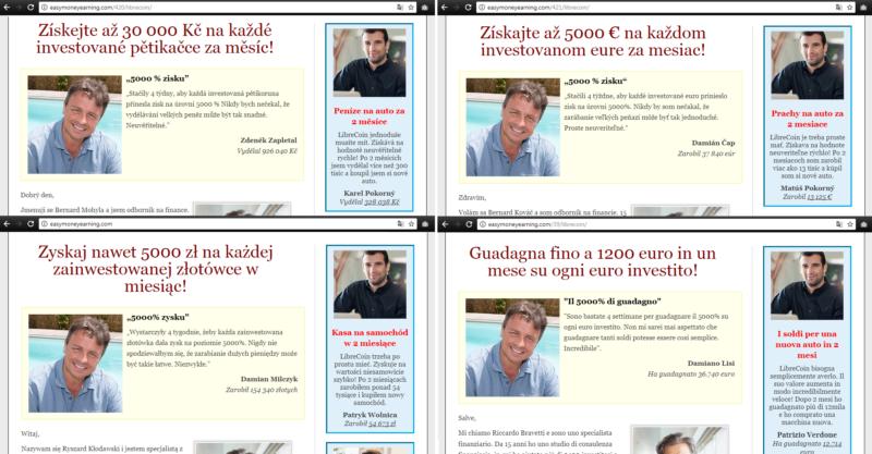 Fiktivní osoby na webu kryptoměny LibreCoin