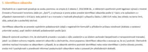Identifikace zákazníka dle VOP směnárny