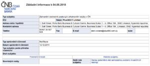Povolení k provozování služeb brokera Plus500 v registru ČNB