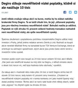 Poplatky u brokera Degiro (reprofoto DENIK.cz)