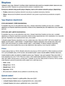 Vysvětlení příkazu Stoploss na webu FIO
