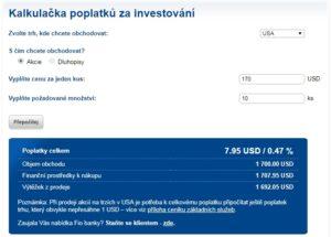 Kalkulačka poplatků na webových stránkách FIO