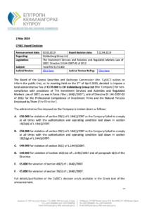 Pokuta, kterou obdržel TopTrader (Goldenburg Group Ltd.)