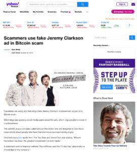 Článek na serveru Yahoo.com s reklamou na českou verzi podvodu