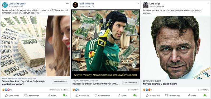 Tváře modelky Němcové, brankáře Čecha či podnikatele Tykače v podvodných reklamách