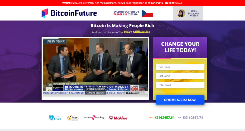 Webová platforma programu Bitcoin Future