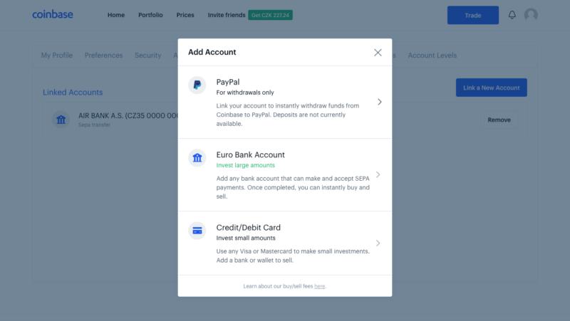 Návod: Nákup BTC platební kartou u Coinbase