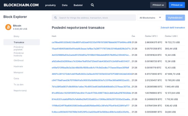 Do blockchainu se zaznamenávají údaje o všech platbách