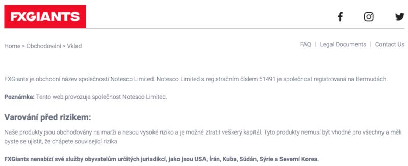 Českou verzi provozuje neregulovaná společnost se sídlem na Bermudách