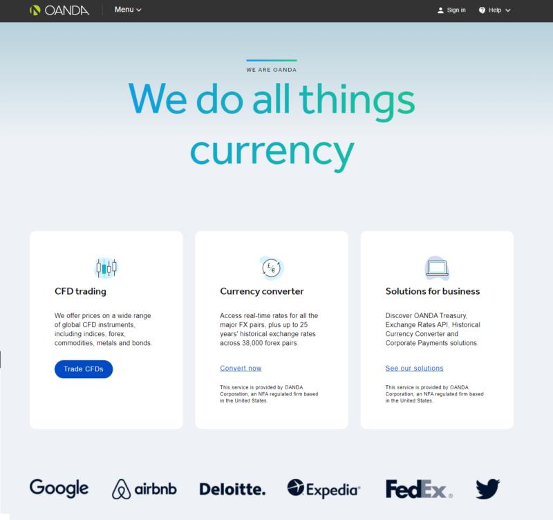 Webová stránka brokera OANDA