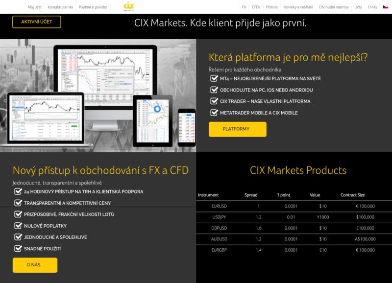 Web brokera CIX Markets
