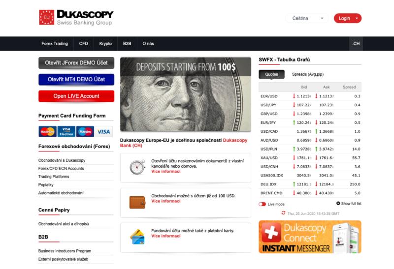 Web brokera Dukascopy