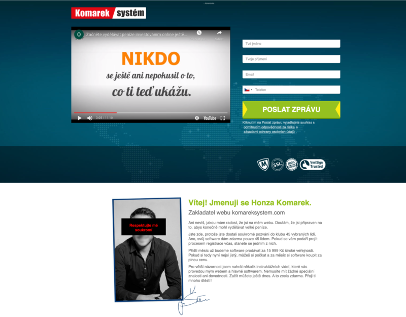 Web KomarekSystem je spojen s brokerem Trade360