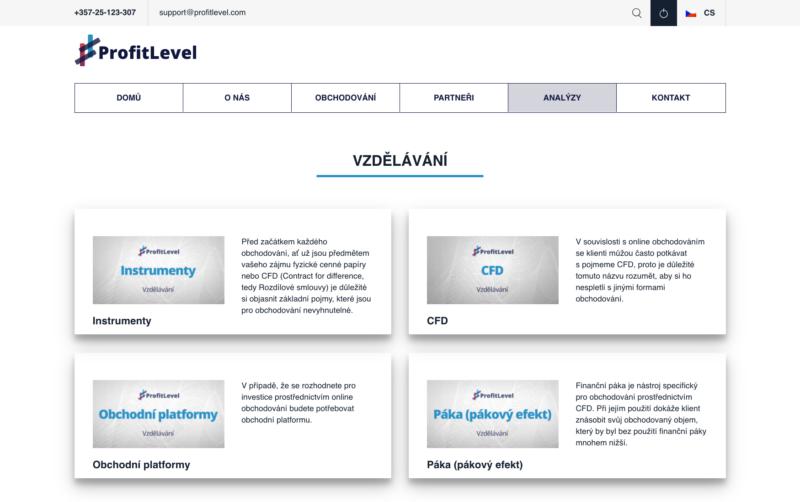 Vzdělávací materiály na webu Profit Level