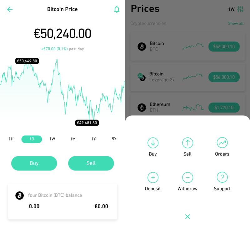 Aplikace směnárny Change Invest
