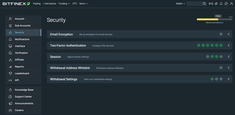 Možnosti zabezpečení účtu na burze Bitfinex