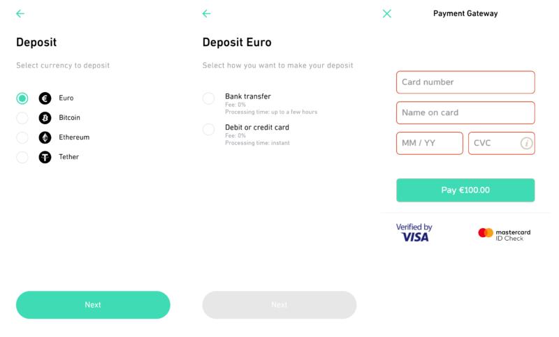Vklad platební kartou u Changeinvest