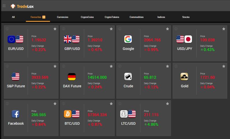 Zjednodušená platforma Tradelax Simplex