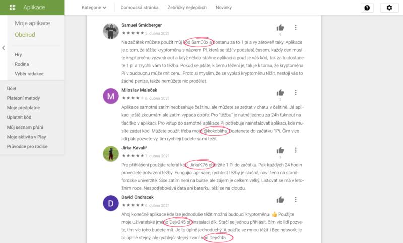 Většina kladných recenzí obsahuje partnerský kód recenzenta
