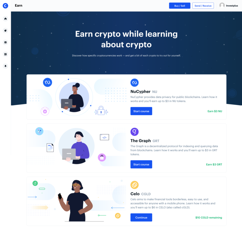 Webová stránka Coinbase Earn