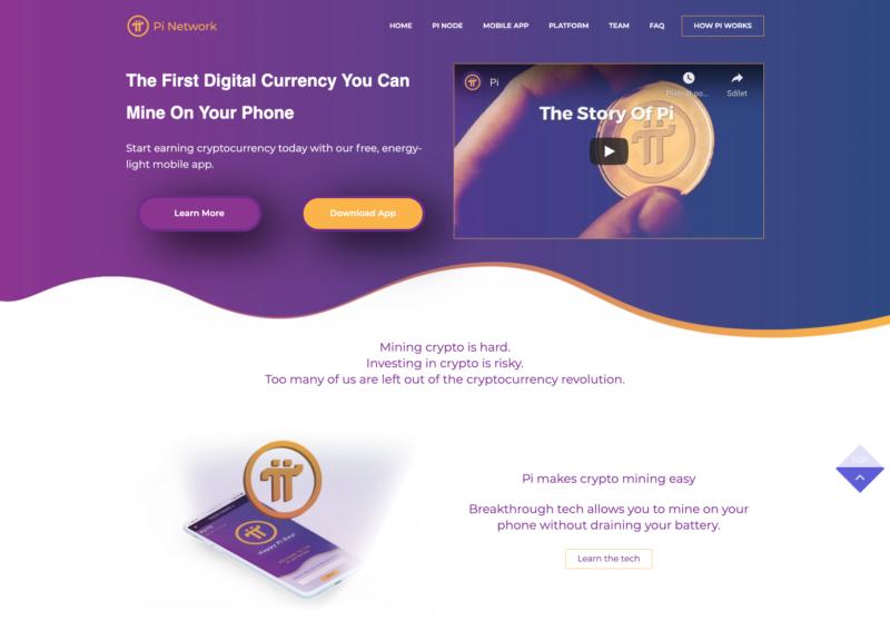 Webové stránky kryptoměny Pi Network