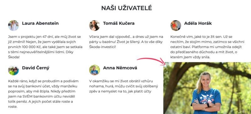 Mezi recenzemi na webu Škoda Investice naleznete i fotografii Petry Kvitové