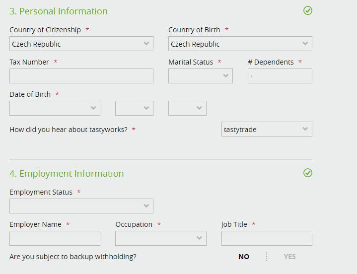 Registrační formulář: osobní údaje