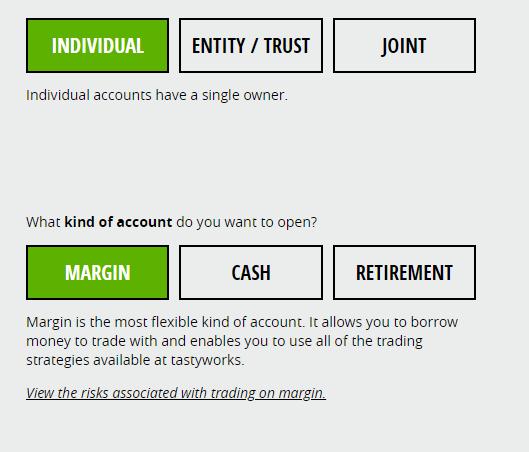 Výběr typu obchodního účtu