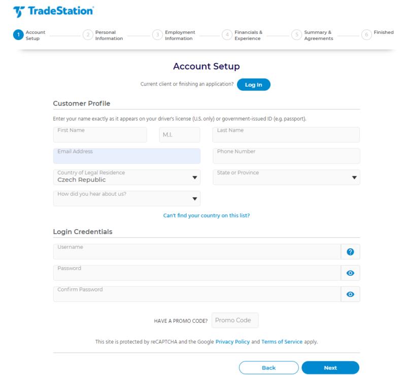 Návod: Registrace u TradeStation