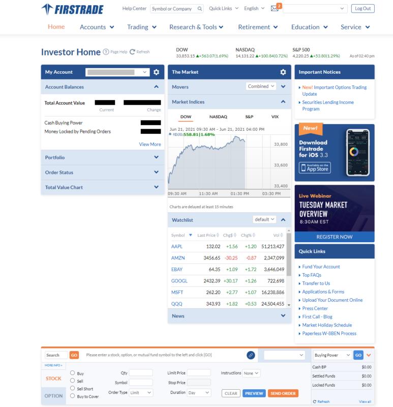 Obchodní platforma brokera Firstrade