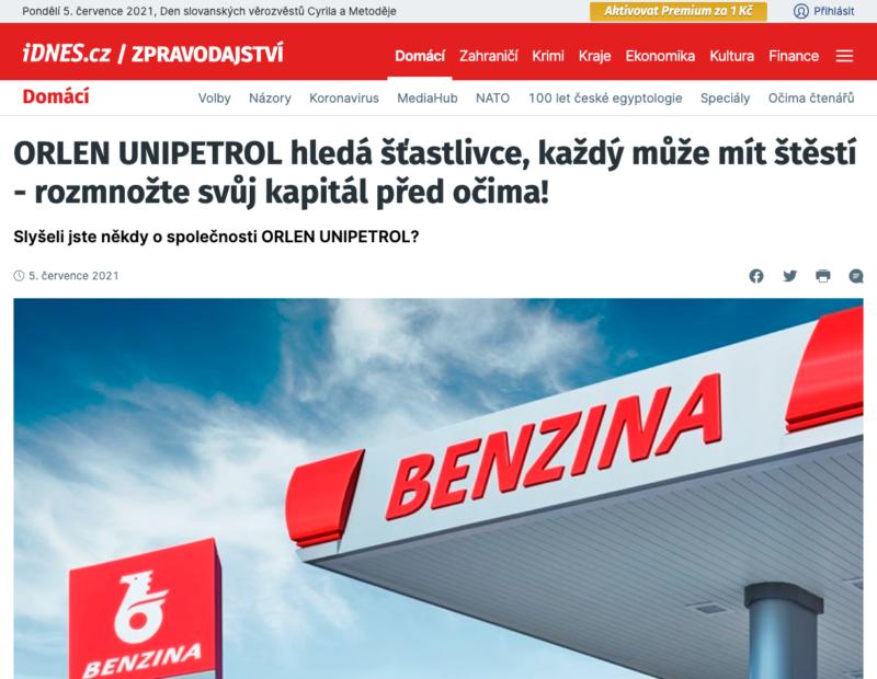 Propagační web vypadá jako zpravodajský portál IDNES.cz